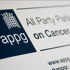 The front cover of an APPGC report. Part of the title 'APPGC All Party Parliaments Group on Cancer, www.appg-cancer.org.uk, @appgc' is visible.
