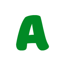 Capital letter A in green Macmillan font on white background