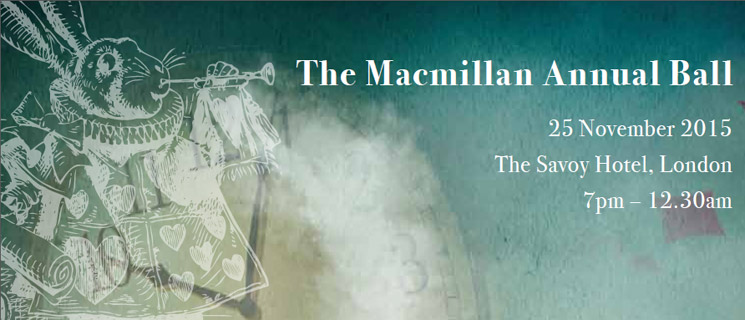 A rabbit playing a horn. With the words 'The Macmillan Annual Ball, 15 November 2015, The Savoy Hotel London, 19:00 - 00:30'.