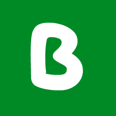 Capital letter B in white Macmillan font on green background