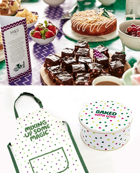 Two images on top of eachother. The first is of a table covered with a selection of cakes, berries and a mug of coffee. A M&S information card stands to the left. The second shows a white apron and cake tin with colourful polkadots.
