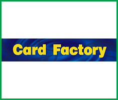 A dark blue rectangle with the words 'Card Factory' in yellow