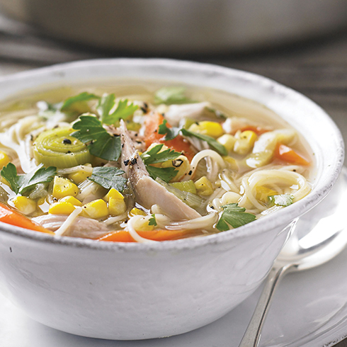 Chicken, sweetcorn and noodle soup