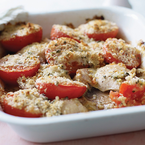 Chicken thighs with crumbed tomatoes