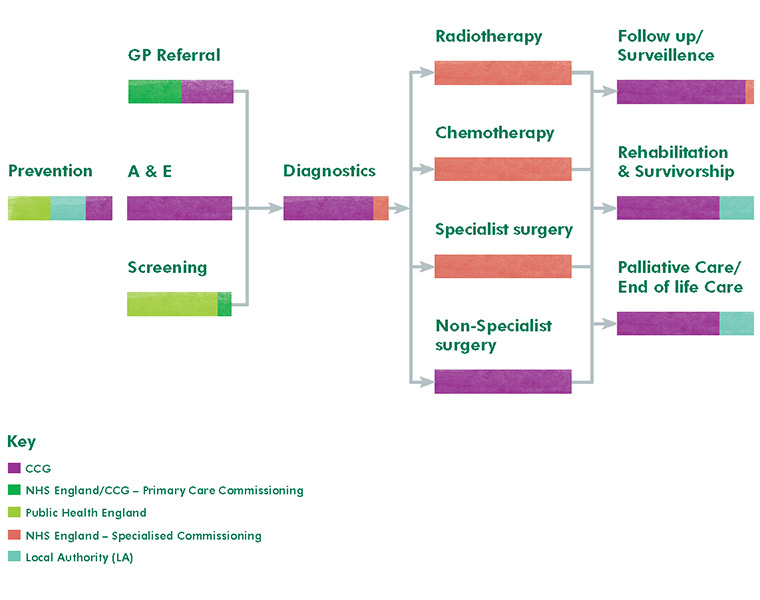 Commissioning responsibility for the cancer pathway in England