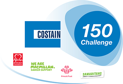 The words 'Costain, 150 challenge' appear in blue circles above the logos of Macmillan, British Heart Foundation, Prince's trust and Samaritans.