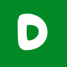 Capital letter D in white Macmillan font on green background