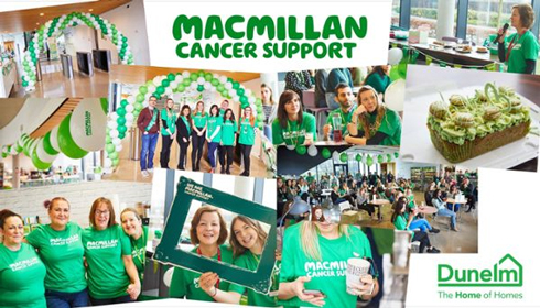 Dunelm employees wearing Macmillan t-shirts as they raise funds for people living with cancer.