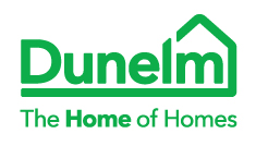 The Dunelm logo. The name 'Dunelm' sits under the graphic of a house. The text reads 'The home of homes.'