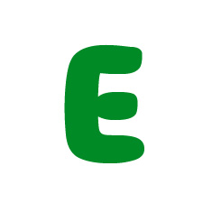 Capital letter E in green Macmillan font on white background