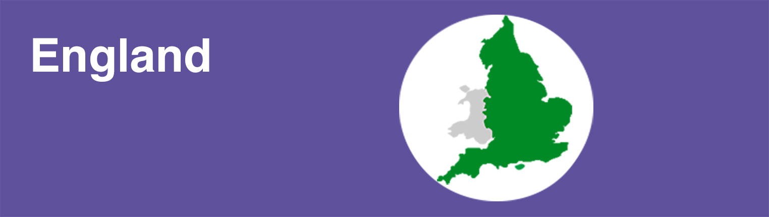 An illustrated map of England with the text 'England' on a purple background.