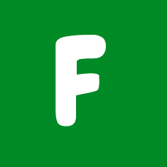 Capital letter F in white Macmillan font on green background