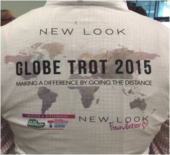 The back of someone wearing a t-shirt which reads Globetrot 2015