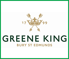 A gold crown with two arrows crossed through it and the year 1799. The words Greene King, Bury St Edmunds appear underneath.