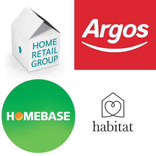 The Home Retail Group, Argos, Homebase and Habitat logos in a square shape