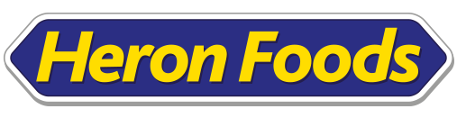 'Heron Foods' written in yellow on a blue background