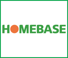 A rectangular logo, with the words 'Homebase' in green. The 'o' is an orange circle. There is a green border around the logo.