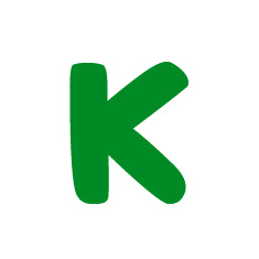 Capital letter K in green Macmillan font on white background