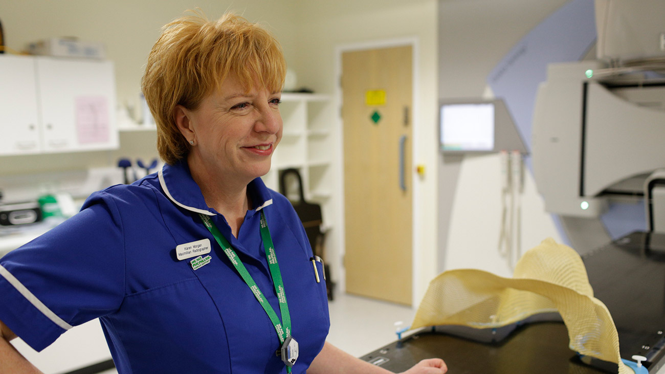 Karen in a radiotherapy ward in hospital