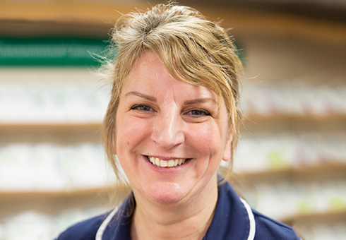 The smiling face of a Macmillan nurse called Shez.