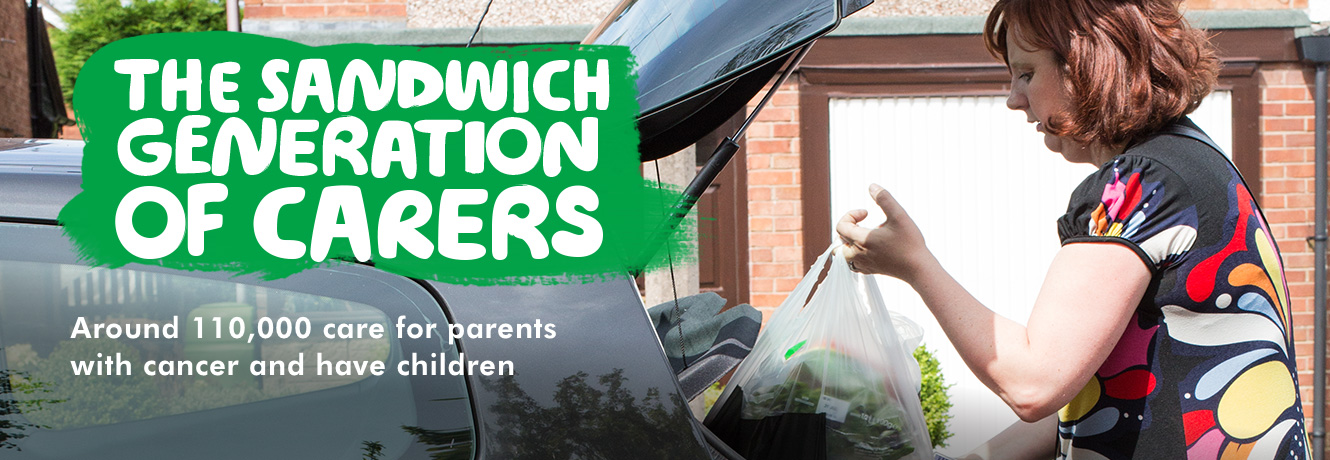 Sharon placing shopping into the boot of a car. Headline font: The sandwich generation of carers. Sub-heading: Around 110,000 care for parents with cancer and have children.