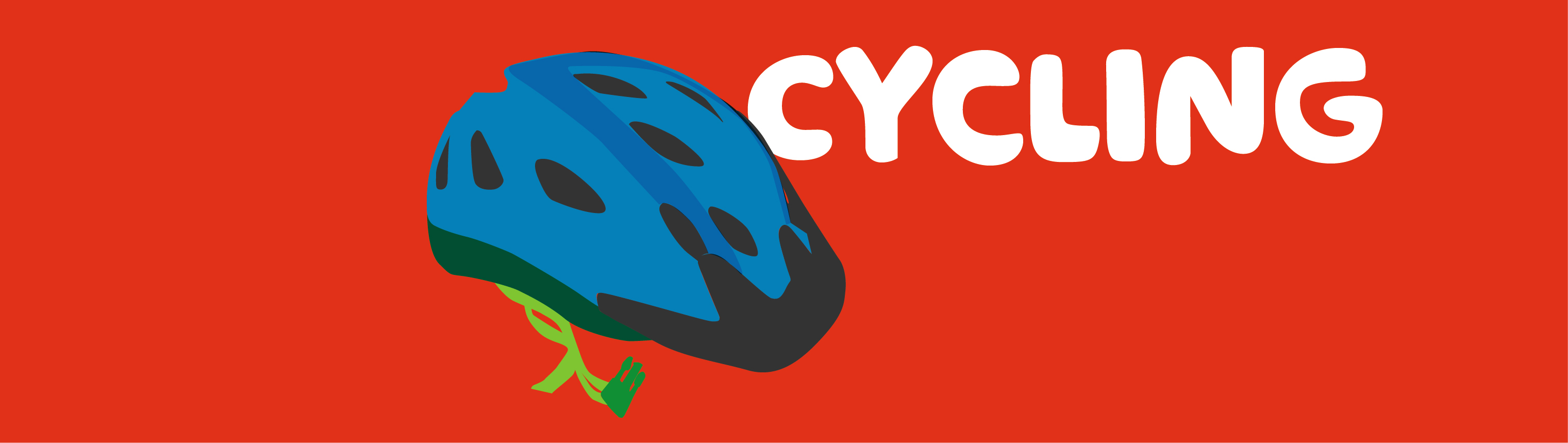 A cycling helmet alongside the word Cycling.