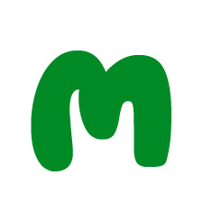 Capital letter M in green Macmillan font on white background