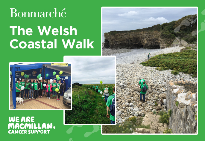 Three photos of the Bonmarche team walking along the welsh coast and the words 'Bonmarche the welsh coastal walk'