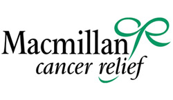 An old version of the Macmillan logo. Text reads 'Macmillan Cancer Relief'.