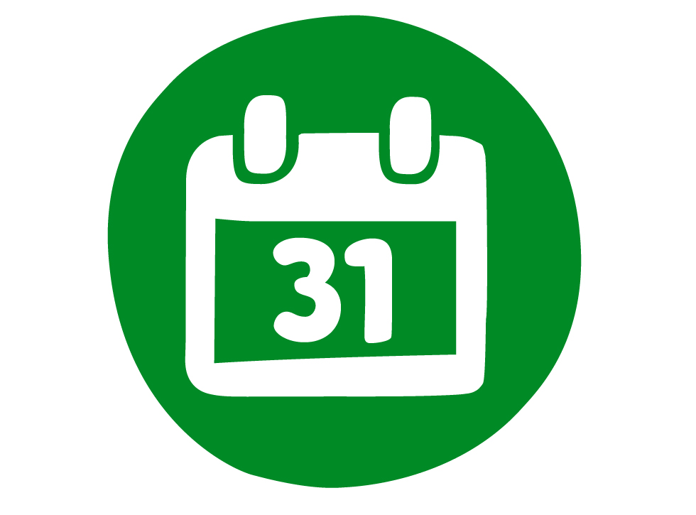 An icon of a green ring-binder calendar with the number 31 on it.