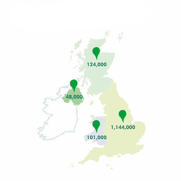 Estimated number of cancer carers across the UK