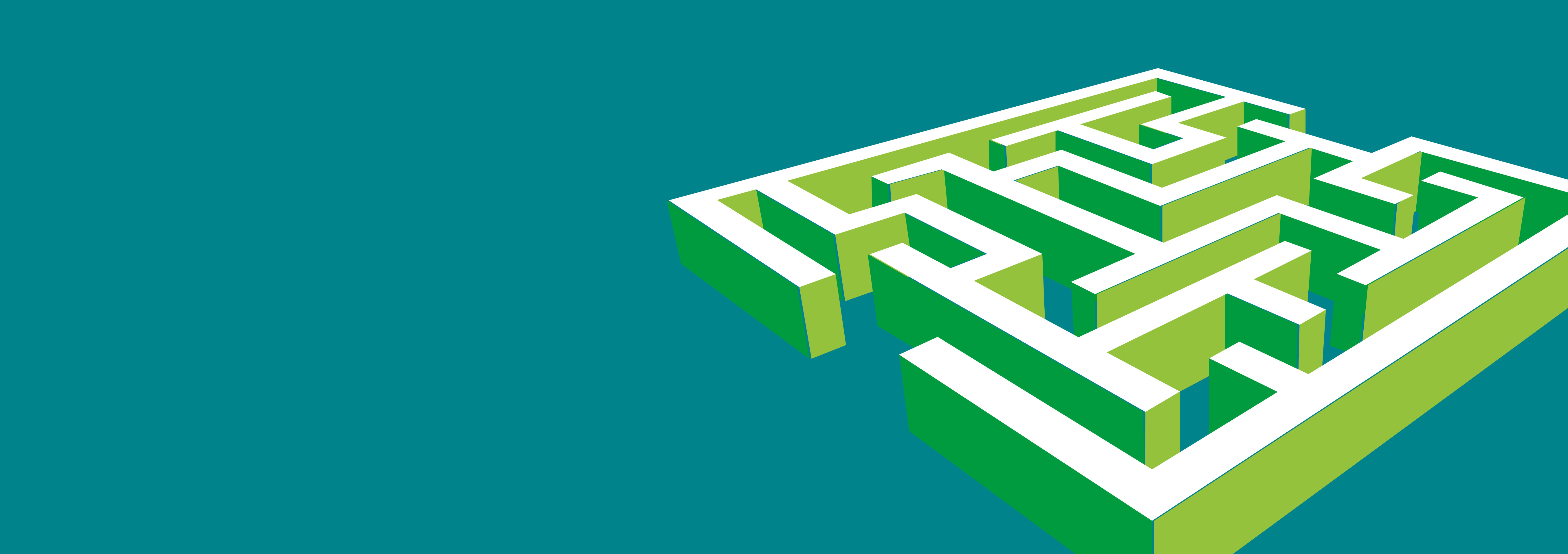 An illustration of a white and green maze on a teal background