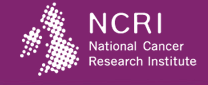 A purple rectangle with a pixelated image of the UK and the words 'NCRI National Cancer Research Institute' on the right