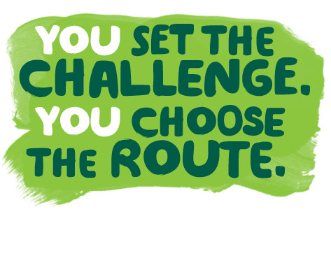 The words 'You set the challenge. You choose the route'.