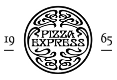 A circular logo, with the words 'Pizza Express' and '1965'.