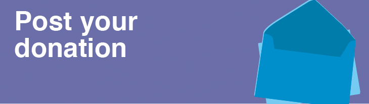 Post your donation in white text on a purple background next to an illustration of an envelope.