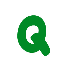 Capital letter Q in green Macmillan font on white background