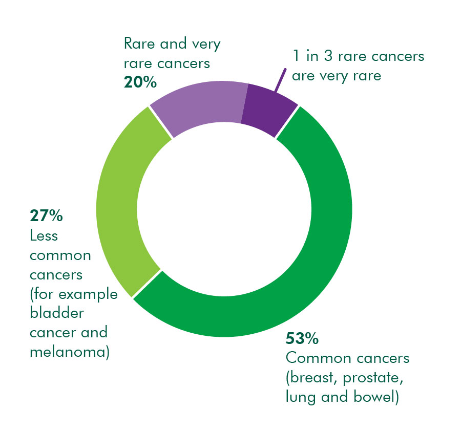 Proportions of common, less common, rare and very rare cancers