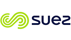 A graphic, green 'S' shaped logo sits on its side, next to the name 'SUEZ'.