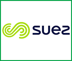 A graphic, green 'S' logo sits next to the name 'SUEZ'.