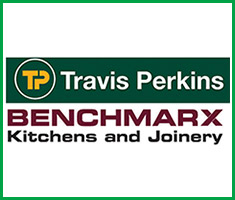 'Travis Perkins' in yellow text above 'Benchmarx Kitchens and Joinery' in red letters