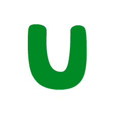 Capital letter U in green Macmillan font on white background