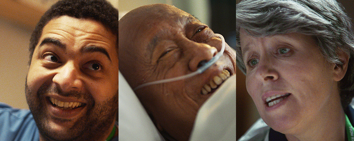 A collage of 3 people: on the left, a smiling man; in the middle, a smiling man laying in a hospital bed with an oxygen tube; on the right, a nurse who is looking down while mid-speech.