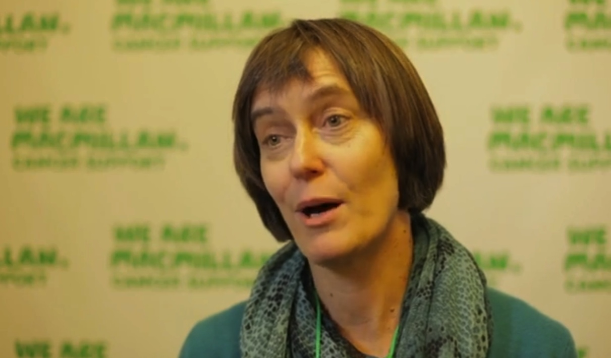 Still from Campaigning on the Care Bill video, showing a close-up of Nikki, a Macmillan campaigner.
