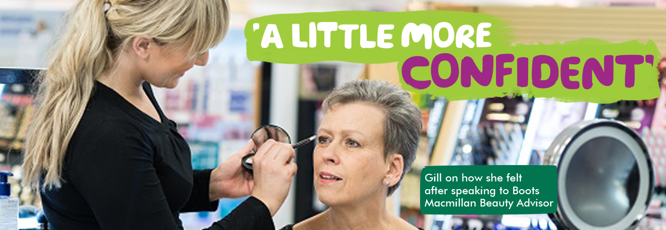 'A little more confident' Gill on how she felt after speaking to Boots Macmillan Beauty Advisor. Gill sits having eye make-up done by a beauty advisor
