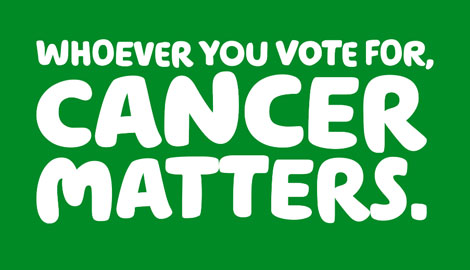 Green banner image with the title 'Whoever you vote for, cancer matters.'