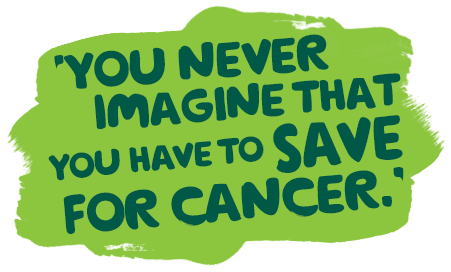 Cath reads a Macmillan booklet. She is seated in a chair in her home. Paint panel reads: 'You never imagine that you have to save for cancer.'