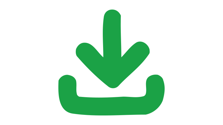 A green download icon with an arrow pointing downwards into a tray