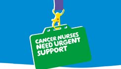 Illustration of a work pass with the words 'Cancer nurses need emergency support'.