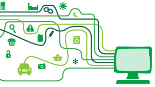 A green computer with many different green strands coming out of it, leading to icons representing different areas of a persons life: a car, a camera, a shopping basket, a phone, a bed.